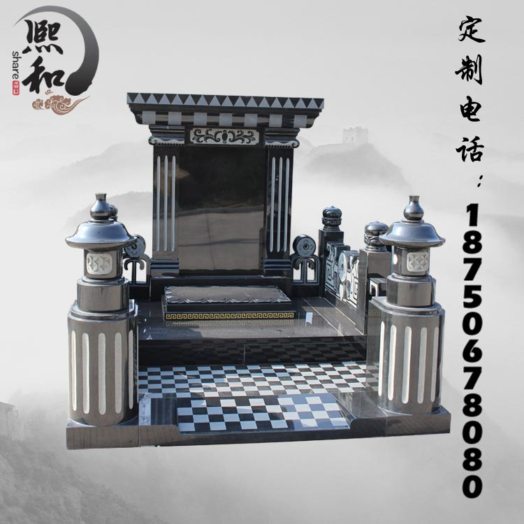 石雕墓碑 石雕家族墓碑,雕刻大型石碑工厂,石碑对联