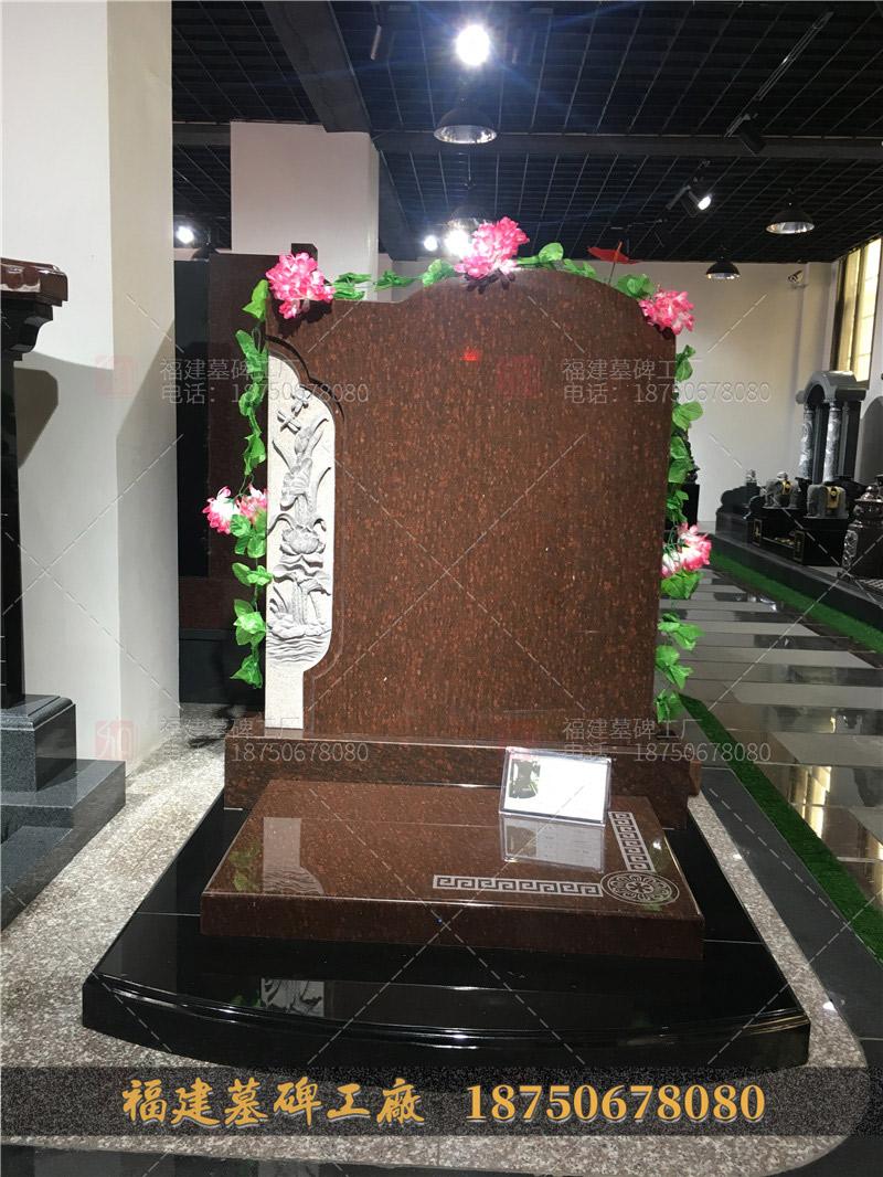 云南梁河县墓碑图,印度红石雕火葬碑,墓园火葬碑定制,