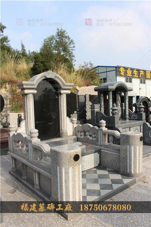 贵州墓碑现场拼装图,贵州花岗岩石材墓碑,贵州传统中式墓碑,